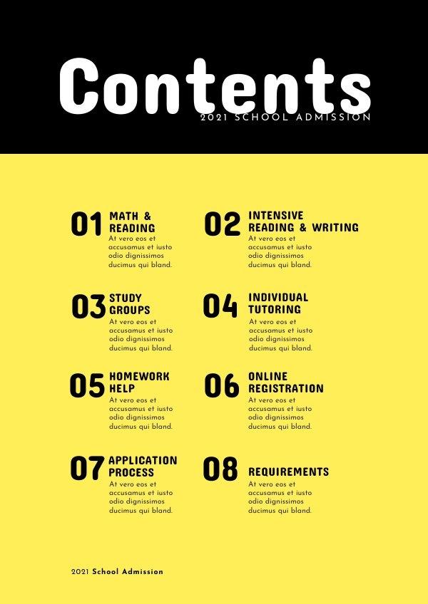 Inhoudsopgave voor School Tijdschrift Ontwerp