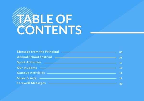 Presentation Table of Contents Design