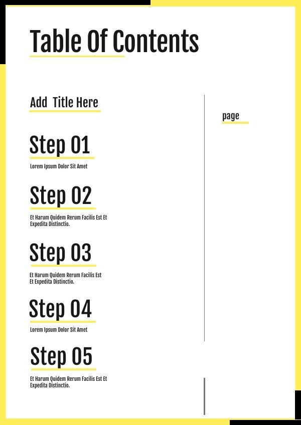 Ausfüllbares Blanko Inhaltsverzeichnis-Design