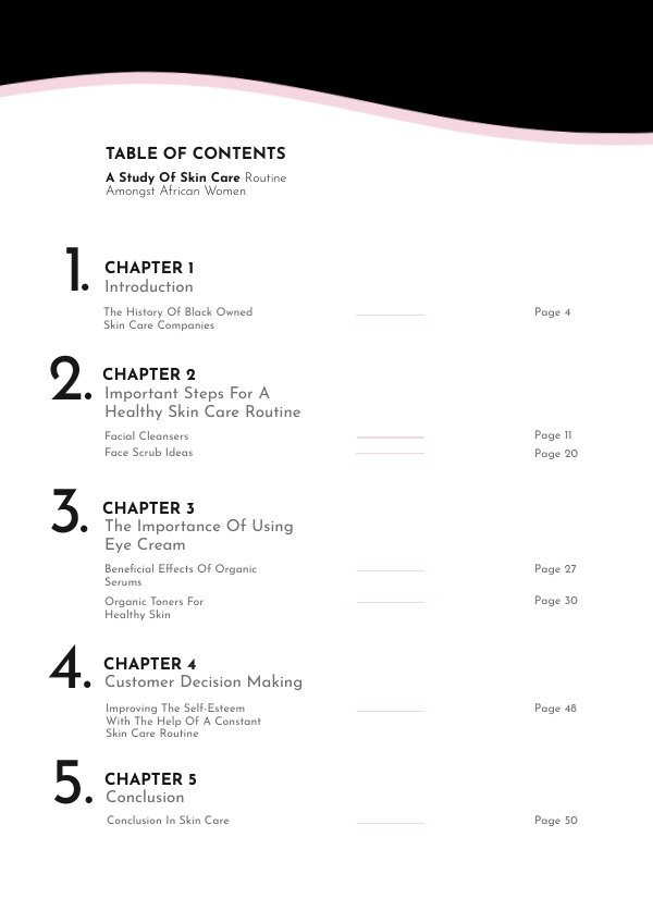Table of Contents Page Design Example