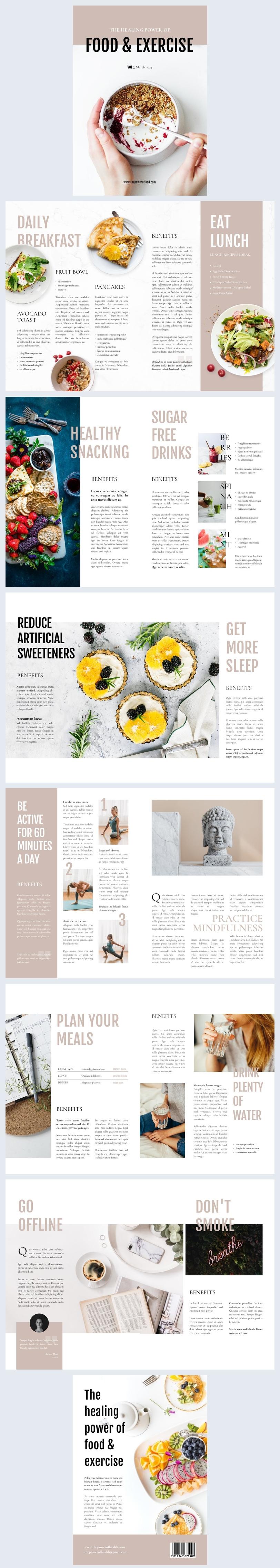 Grafica modificabile per rivista di lifestyle salutare