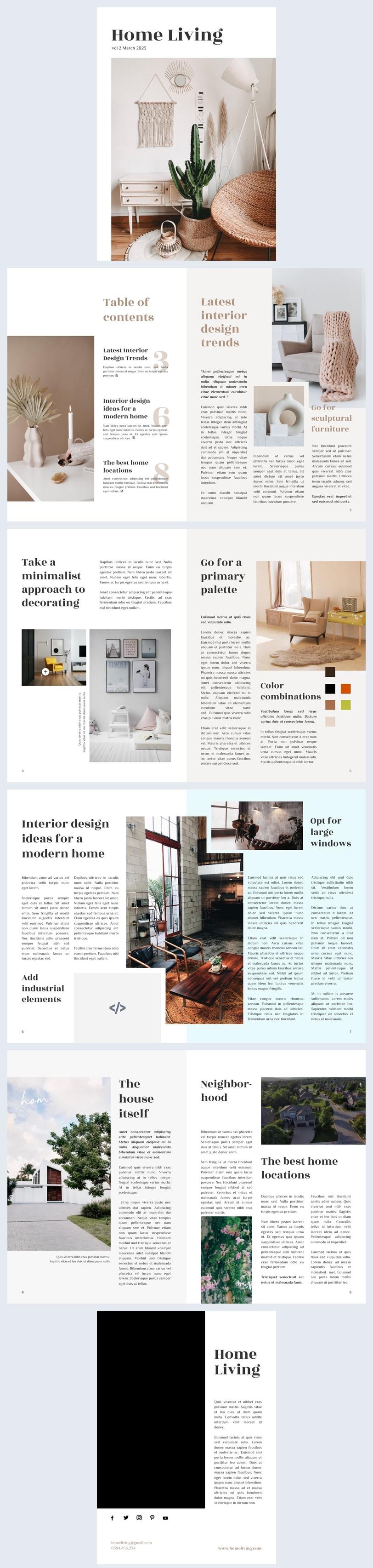 Home & Living Magazine Design Example