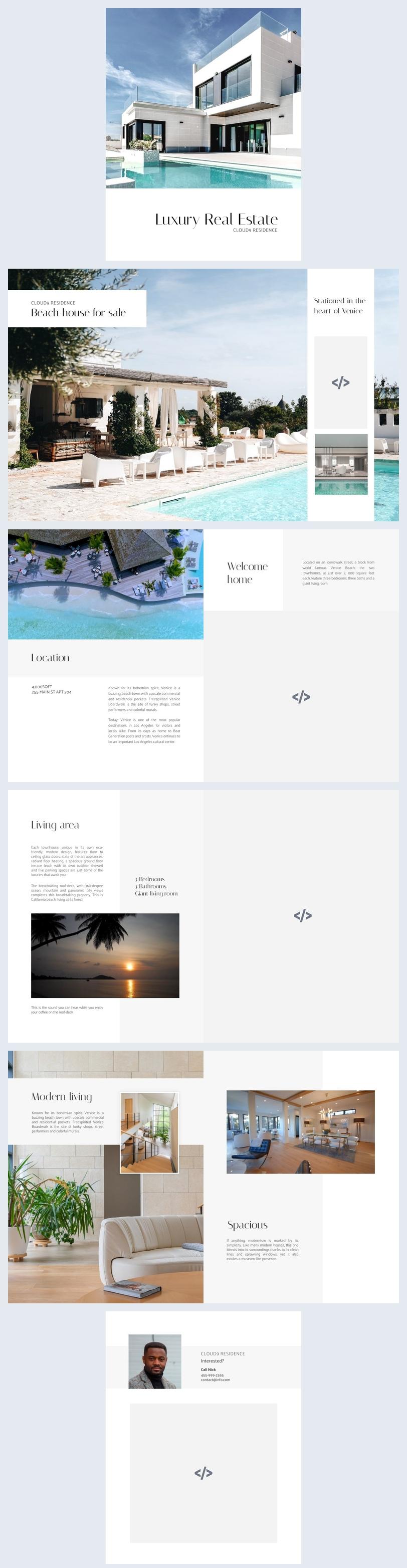 Muestra de diseño para folleto inmobiliario de lujo
