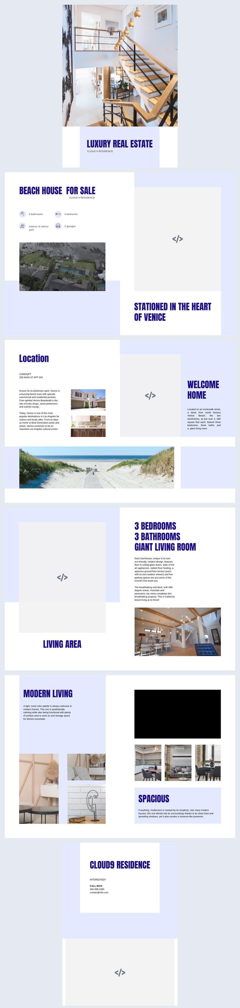 Exemple et design de brochure immobilière de luxe