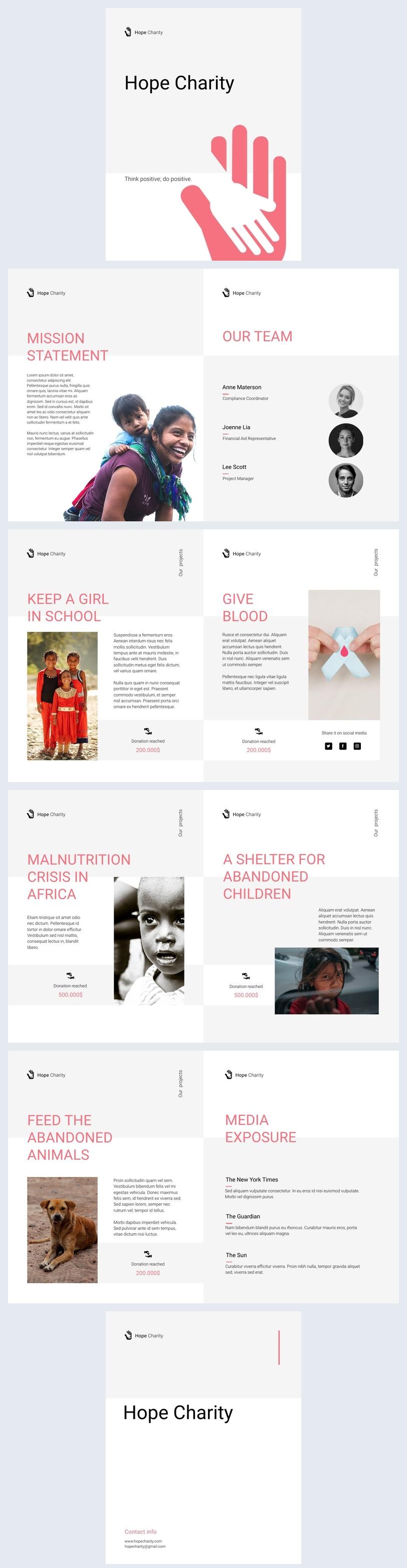 Ejemplo de diseño interactivo para flip book de beneficencia