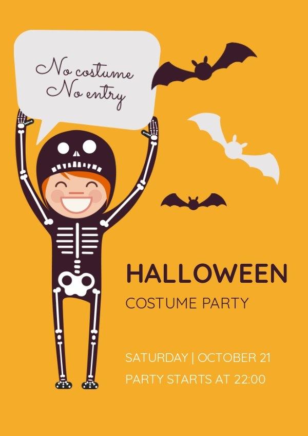 Design de flyer costume de fête d'Halloween
