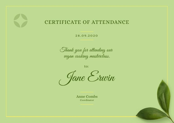 Free Certificate of Attendance Design Example
