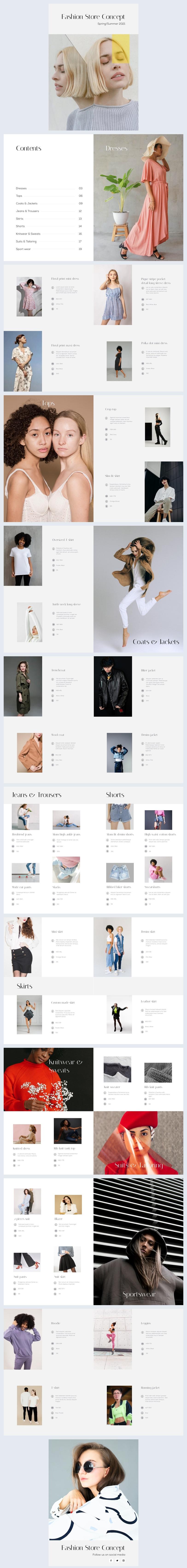Ejemplo de diseño para catálogo automatizado de productos de moda