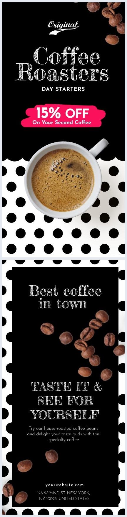 Exemple et design de carte de visite pour café