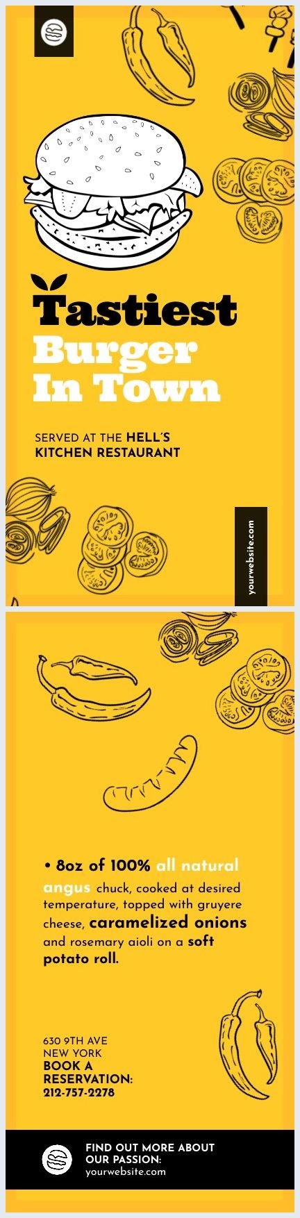 Idea grafica per biglietto pubblicitario da ristorante