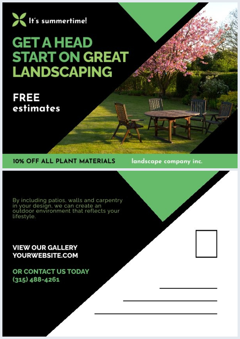 Free Landscaping Postcard Design Example