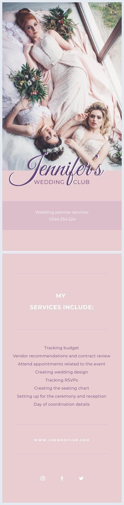 Idea grafica per biglietto pubblicitario da settore matrimoni