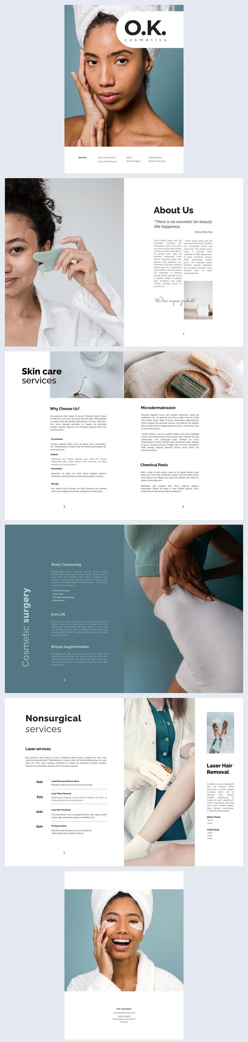 Exemplo de Design de Brochura de Empresa de Cosméticos
