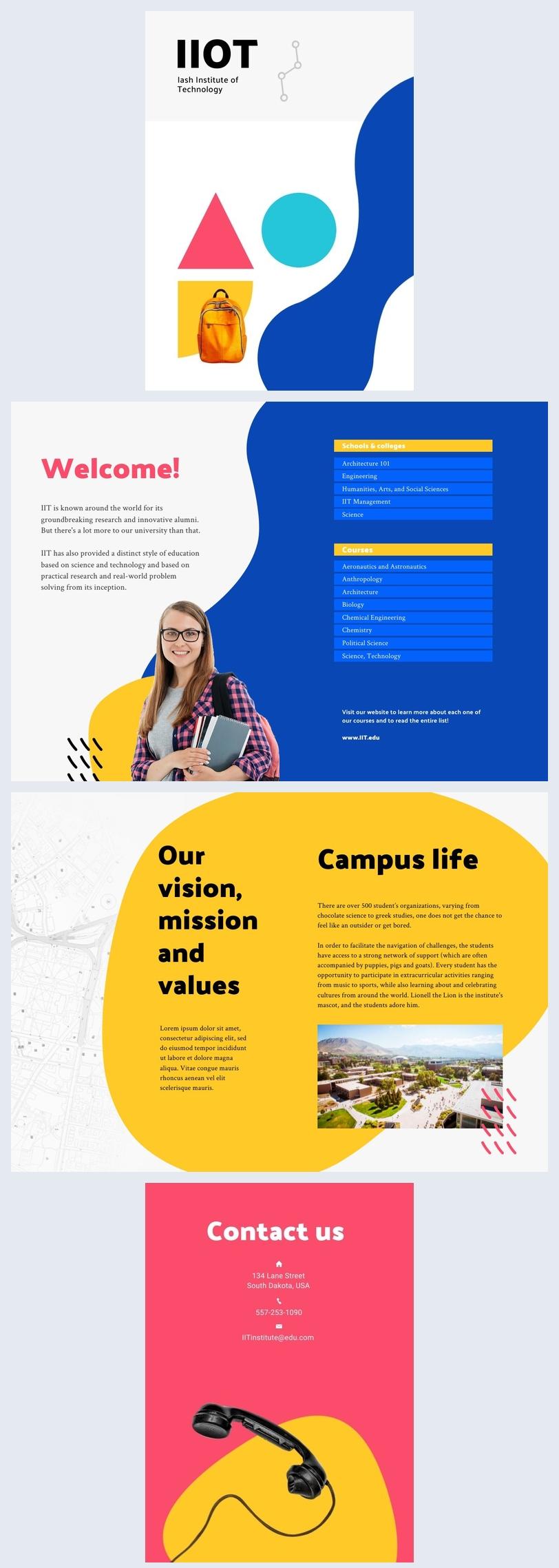 Exemple et design de brochure universitaire personnalisable