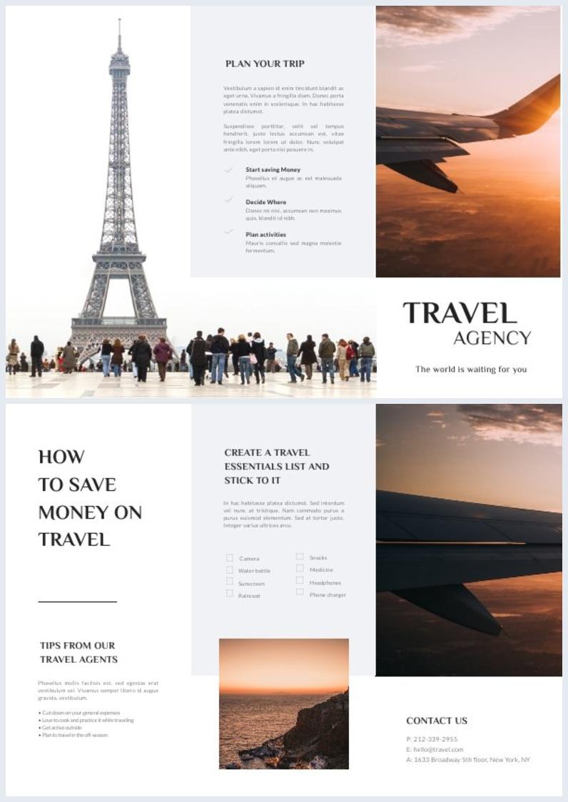 Layout grafico per opuscolo di viaggio con piega a fisarmonica