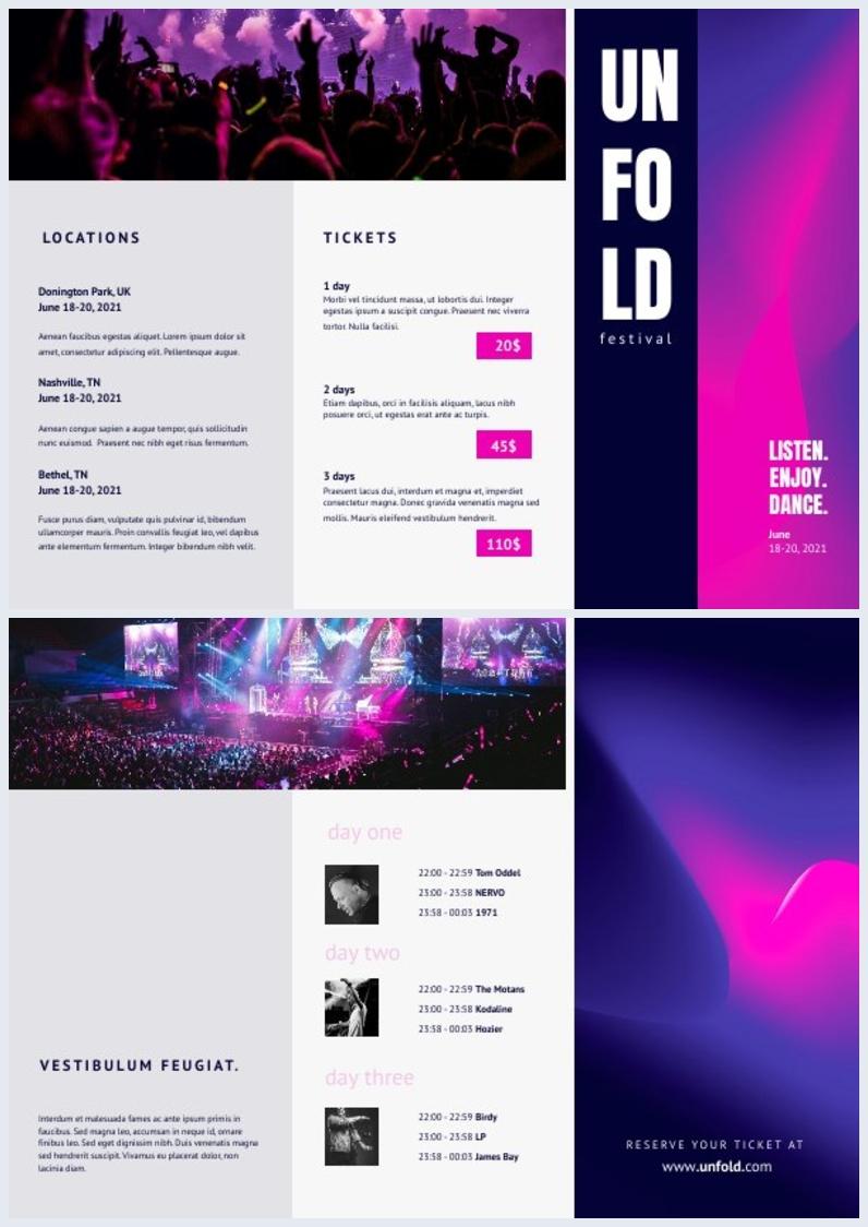 Design de Brochura de Festival com Dobra em Z Online Grátis