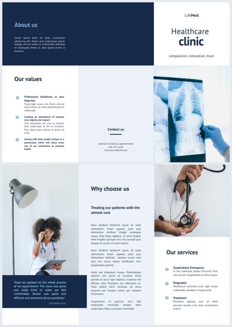 Ejemplo de diseño para tríptico de clínica