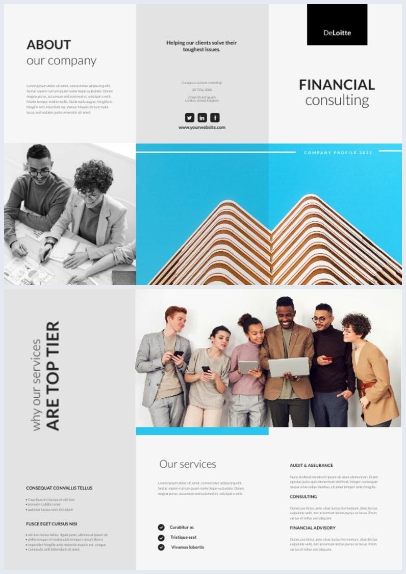 Amostra de Design de Brochura Informativa de Perfil de Empresa