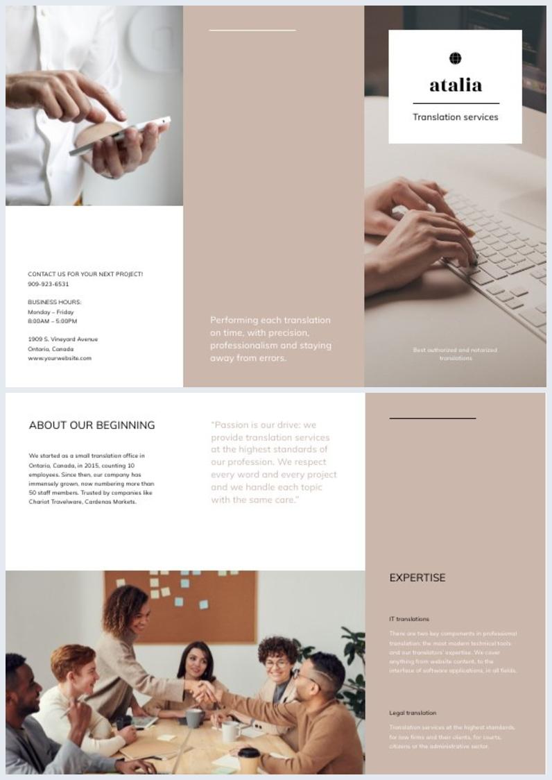 Muestra gratuita de diseño para folleto empresarial