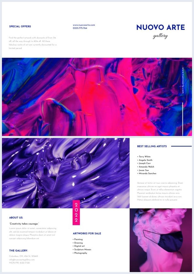 Exemplo de Design de Brochura de Galeria de Arte