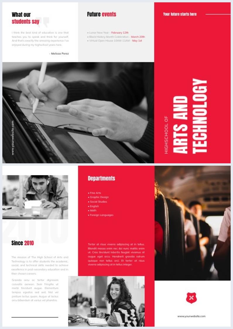 Gratis Online Middelbare School Brochure Ontwerp