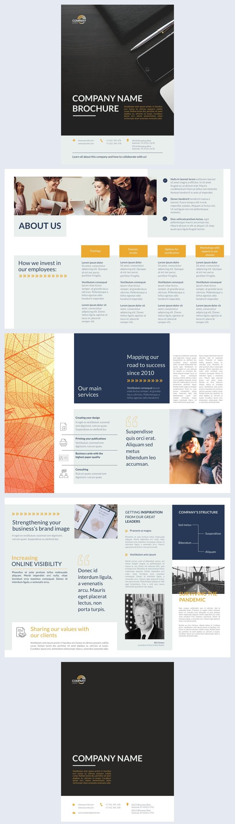 Design et mise en page de la brochure de l'entreprise