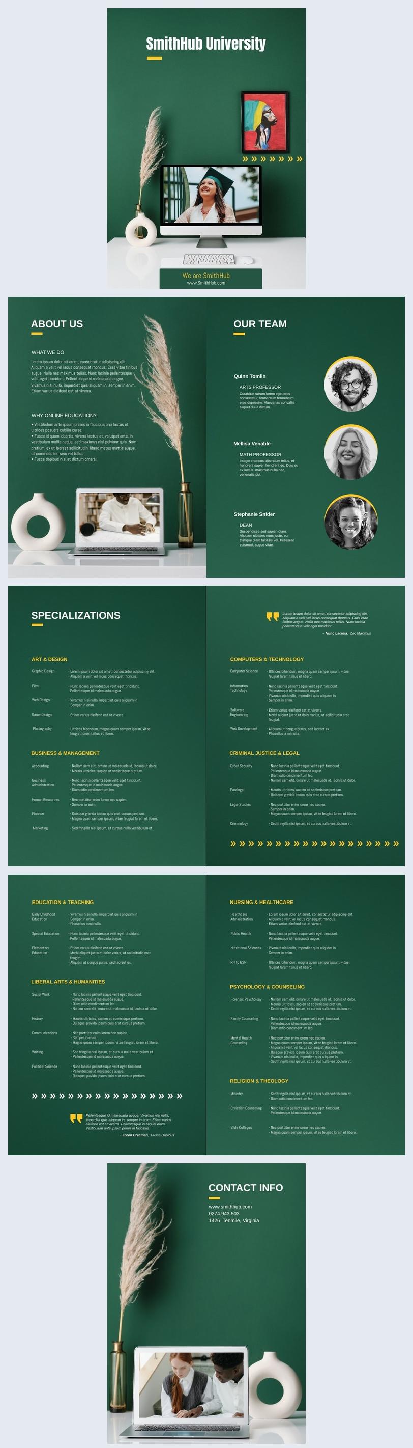 Grafica gratuita e online per brochure universitaria