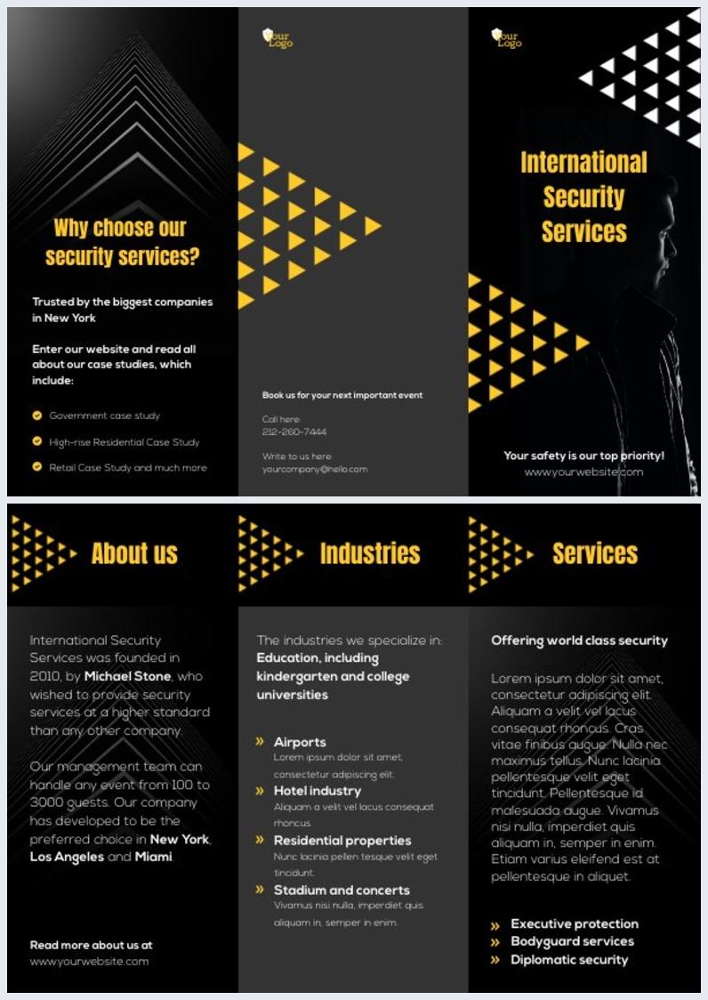 Dreifach Gefaltete Broschüren-Vorlage für Sicherheitsunternehmen