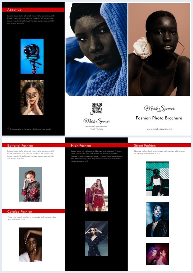 Trifold Photography Brochure Design Idea