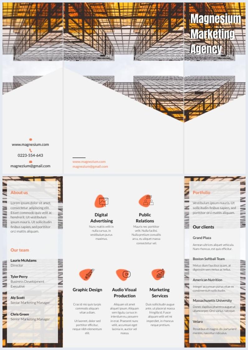 Customizable Marketing Agency Brochure Design
