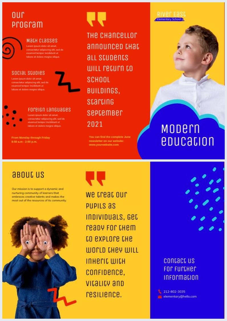 Grundschul-Broschüren-Beispiel-Design