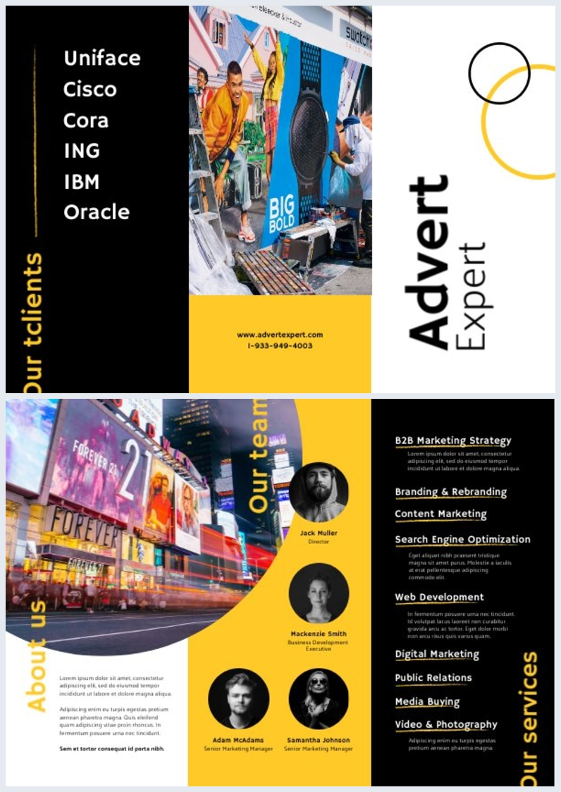 Ejemplo de diseño para folleto publicitario