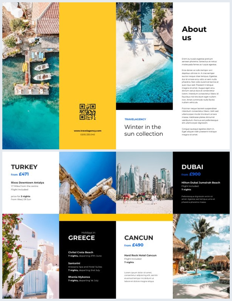 Doppel-Gate-Falz Urlaubs-Werbebroschüren-Design