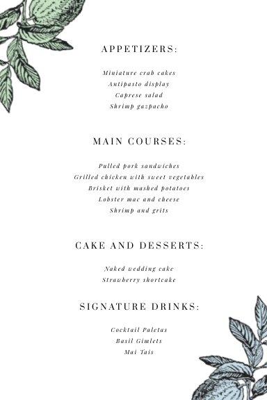 Free Online Wedding Table Menu Design