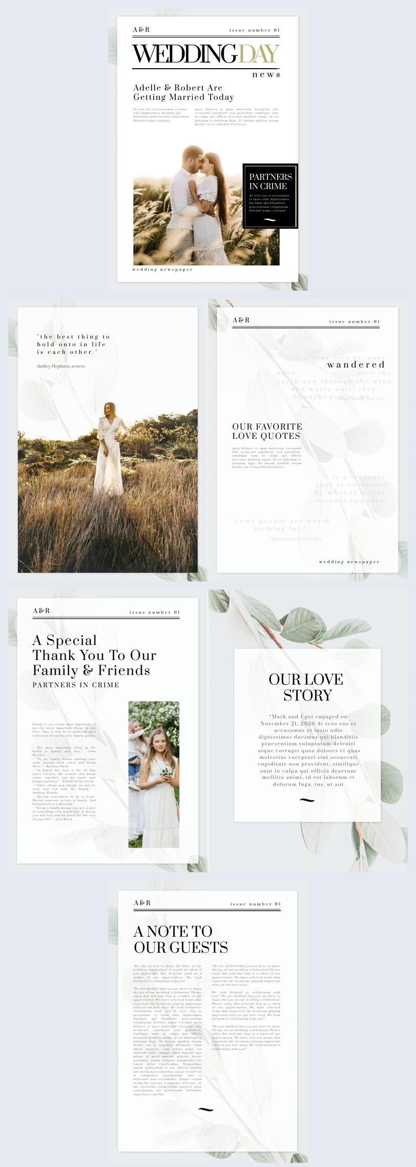 Amostra de Design de Jornal de Casamento com Folhas Verdes grátis