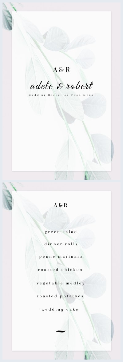 Wedding Green Leaves Reception Food Menu Design
