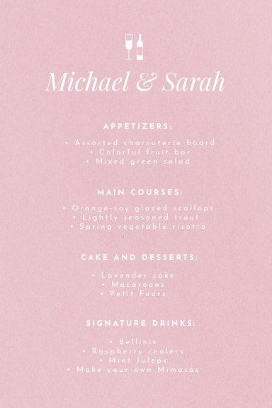 Free Pink Wedding Table Menu Design Sample