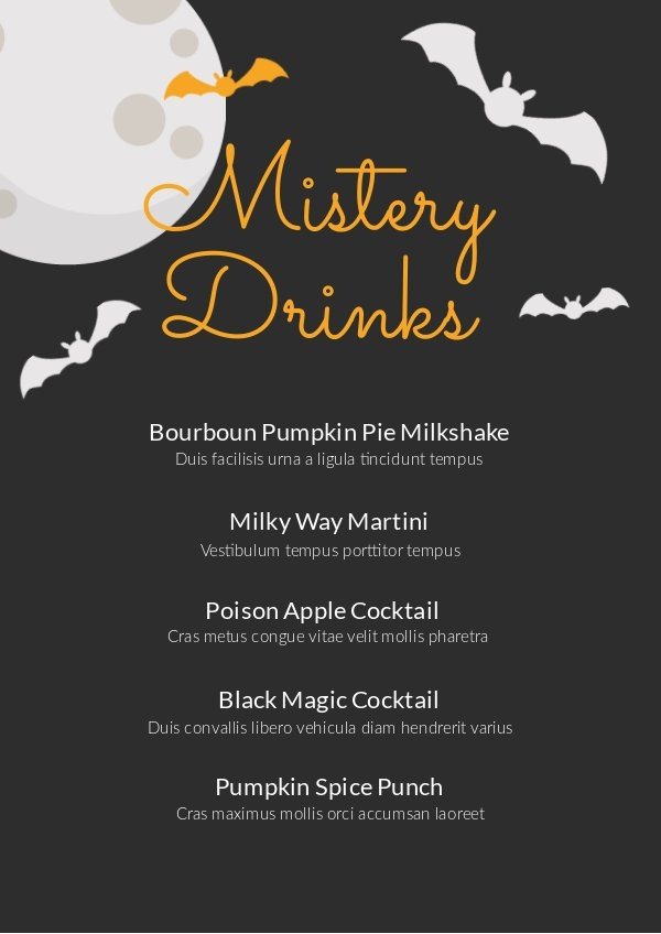 Design de Menu de Bebidas de Halloween