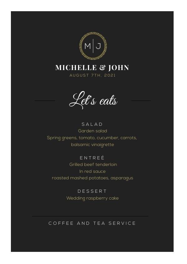 Free Elegant Black Wedding Buffet Menu Design