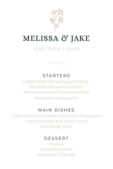 Elegant Wedding Menu Card Design Example