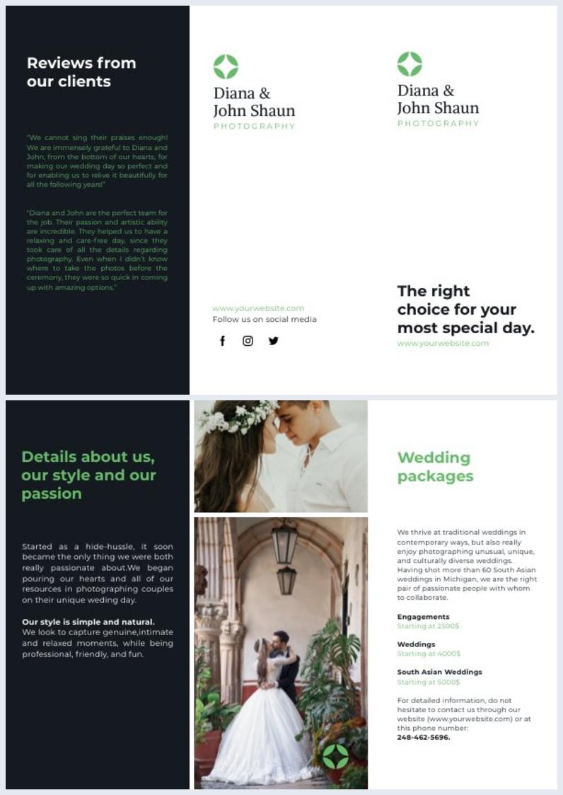 Wedding Photographer Offer Trifold Brochure Design