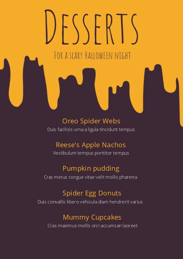 halloween dessert menu template  u0026 design