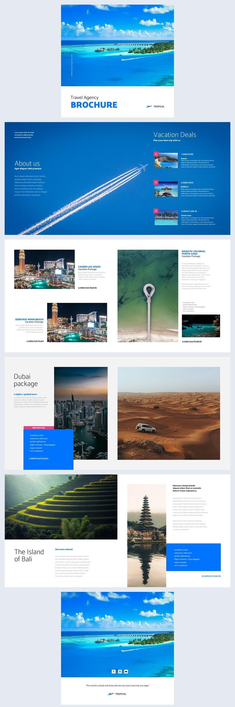 Editierbare Gratis Reisebroschüren-Vorlage-Design-Beispiel