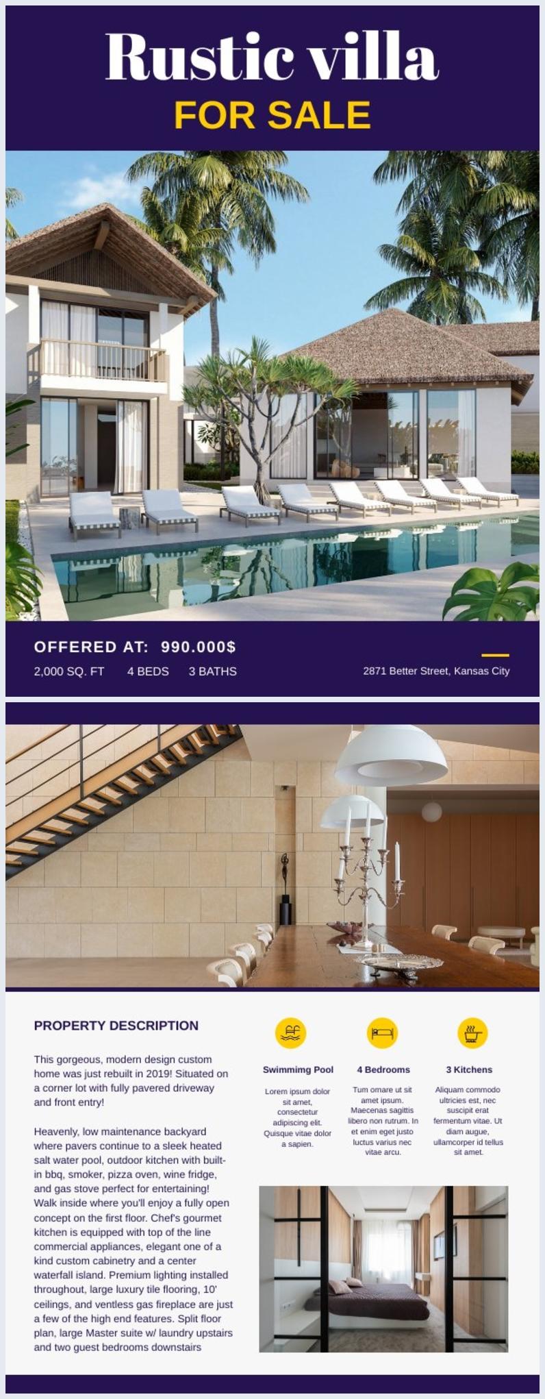 For Sale Real Estate Flyer Design Example