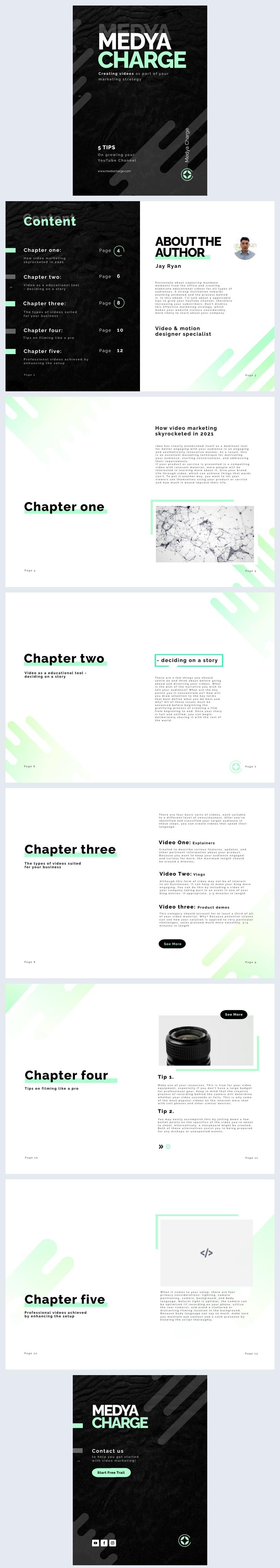Grafica per eBook interattivo su strategia di marketing video