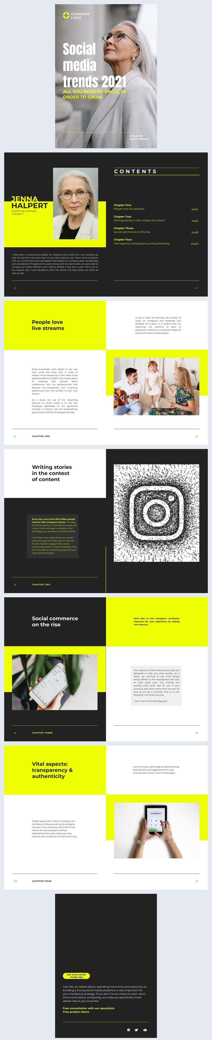 Ejemplo de diseño para eBook comercial de redes sociales