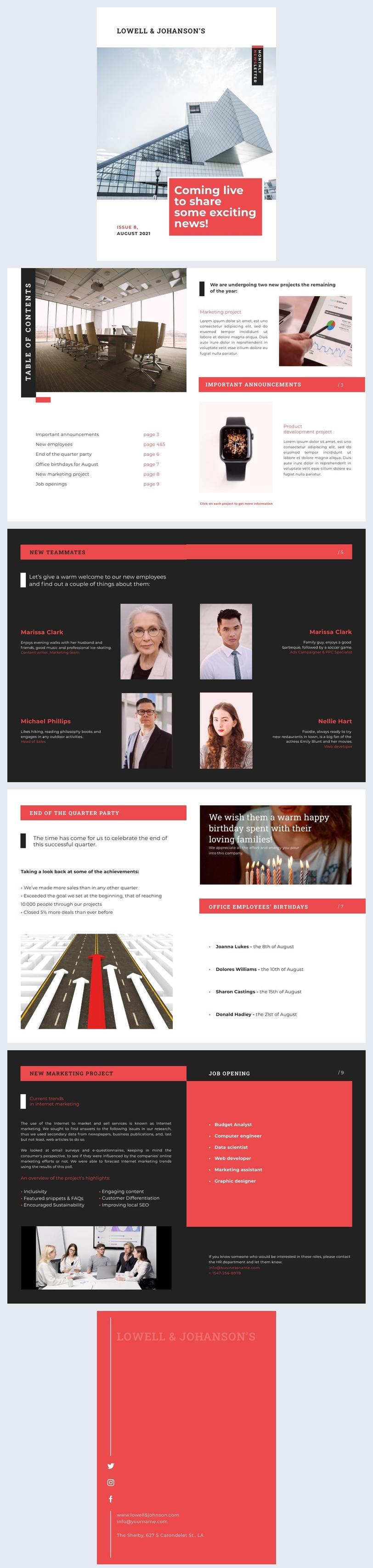 Ejemplo de diseño gratuito y en línea para boletín interactivo