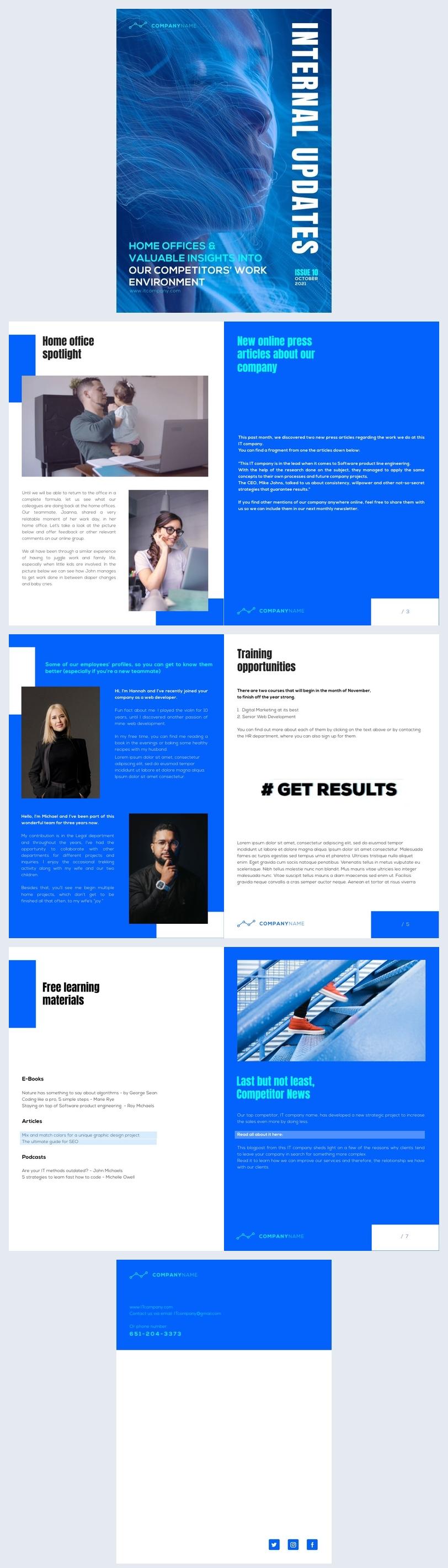 Ejemplo de diseño gratuito en línea para boletín interactivo