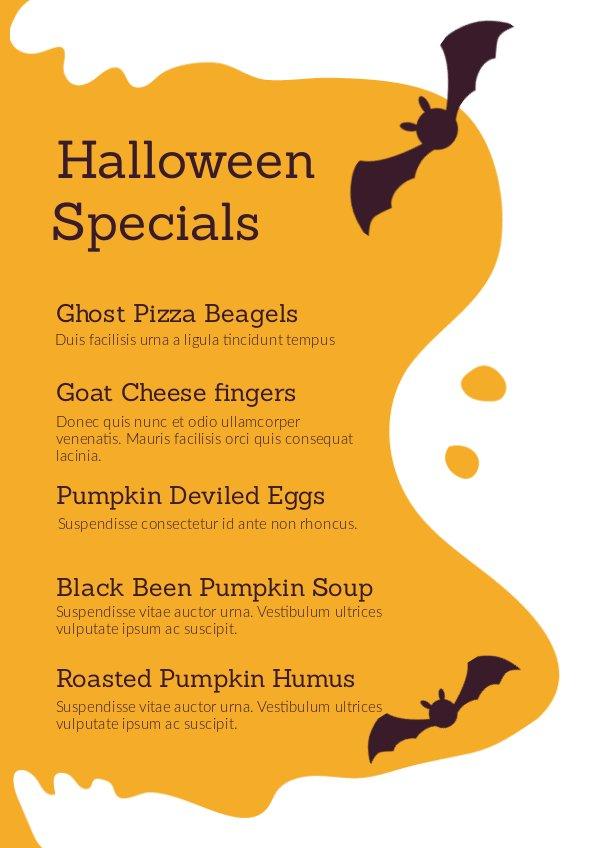 Halloween Specials Menu Design