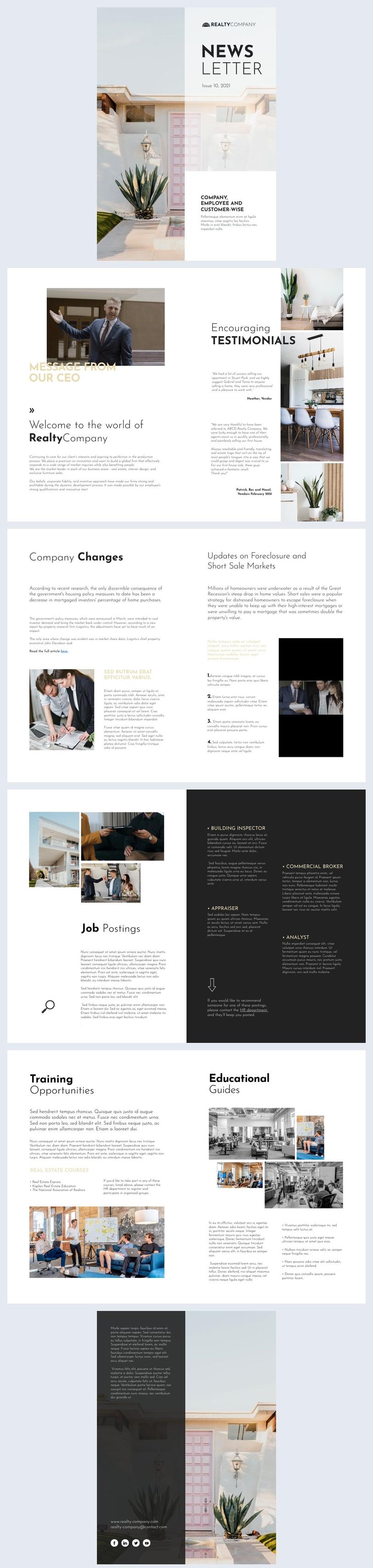 Exemplo de Design de Newsletter Interna de Imóveis Interativa
